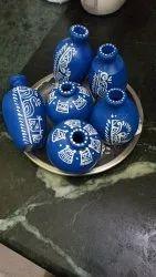Hand Building Handpainted Decorative Terracotta Miniature Pot And Vases, For Interior Decor