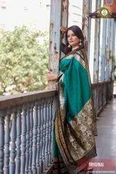 Banarasi Katan Green Saree