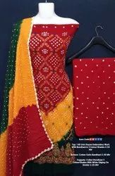 Rayon Embroidery Work Bhandhni Suits