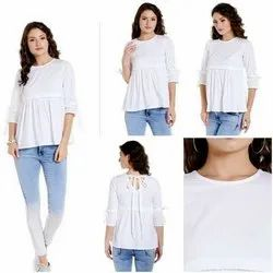 Cotton Casual Wear Gorgeous Top With Knots On Sleeves And Back