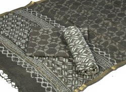 Mansi Printers Cotton Bagru Hand Block Print Katha Work Dress Material With Dupatta