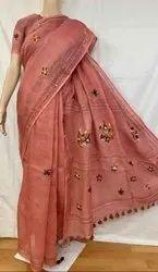 Linen Hand Weaving Work Sarees