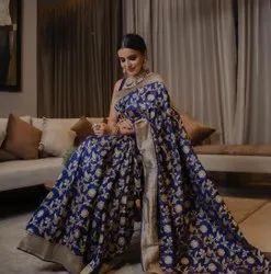 Blue Festive Wear Lichi Silk Saree, 6 m (With Blouse Piece)