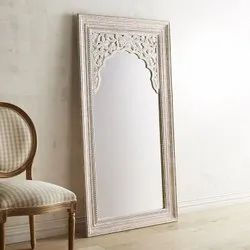 Brown Carving Antique Wooden Mirror Frame For Home, Size: 4x3 Foot