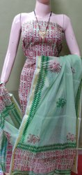 Cotton Unstitched Kota Doriya Suit, Handwash