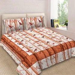 Bird printed double bedsheet