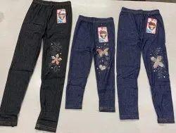 Embroidered Girl Kids Leggings