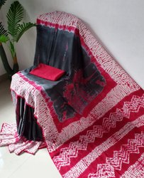 Bagru Hand Shibori Print Cotton Mulmul Saree With Blouse Piece