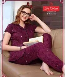 Full Length Premium Hojiery Night Suits Branded, Large