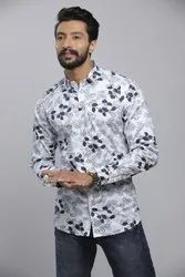Prints Brown and Blue Mens Cotton Printed Shiry, Size: S.m.l.xl.xxl