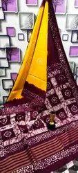 Shifa Enterprises Wedding Wear Katan Silk Batik Print Saree, 5.5 m (separate blouse piece)