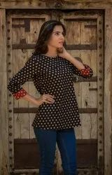 Hand Block Printed Cotton Top, Size: 38-46