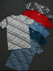 4 Way Lycra Casual Wear Printed T Shirt