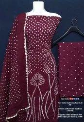 Cotton Satin Bandhni Suits