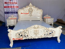Teakwood White Wooden Carved Double Bed