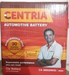 Capacity: 35 Ah Price After Old Battery Exchange (Same Ah): 700 Centria Car Battery, Model Name/Number: CA38B20M30L