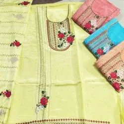 44-45 Unstitched Uppada Silk Embroidered Suit