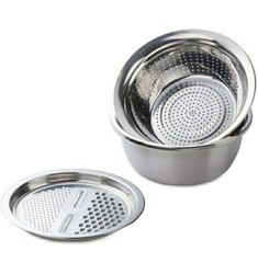 Stainless Steel Basin With Grater, Vegetable Cutter With Drain Basket