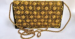 velvet embroidered Womens Black Purse