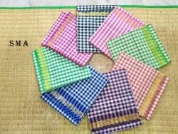 Checked Poly Cotton Saree, Length: 5.5 m (separate blouse piece)
