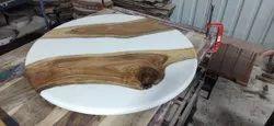 White Epoxy resin Round Center Table, For Home, Size: 3' Dia
