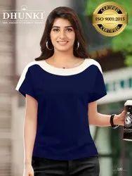 Dhunki Causal Wear Designer Girls T Shirts, Size: M,XL