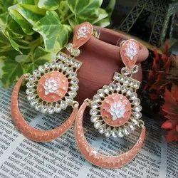 Multicolor Brass Big Earrings