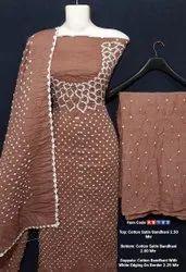 Cotton Satin Bandhani Suits