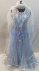 Party Wear SKY BLUE Fancy Nett gown with hand embroidered jacket, Size: Xl