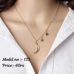 Trendy Alloy Moon Star Necklace