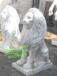 3 Feet White Marble Lion Statue