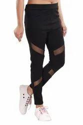 Mid Waist Black Yoga Track Pants, Slim Fit