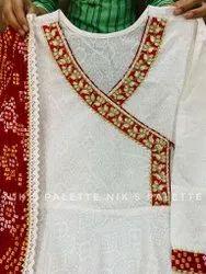 Cotton Khadi Print Anarkali Pattern Flair Gowns With Silk Bandhani Duppata