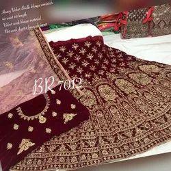 Velvet Semi-Stitched Bridal Lehenga, Size: Free Size