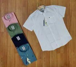 100% Premium Linen Cotten Mix Collar Neck Men's Half Sleeves Plain Shirts, Size: M-38 L-40 Xl-42 Xxl-44