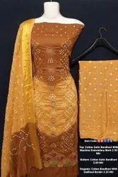 Cotton Satin Bandhani With Machine Embroidery