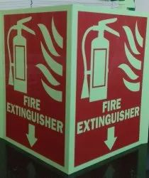 Rectangular Light green 3 D Autoglow fire extinguisher signage, For Industrial, Dimension: 12 X 14