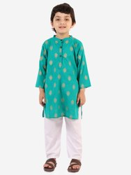 Chipbyes White Kids Kurta Pajama Set