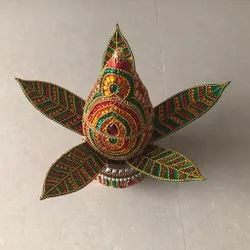 Red Copper Decorative Kalash With Nariyal And Mango Leaves, For Puja