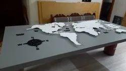 radhvik white World Map Wall Art, Size: 8'*4'