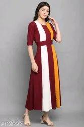 Lycra Multicolor Girls Stylish Dress