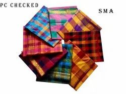 Sma South Cotton CHECKED POLYCOTTON SAREES, 5.5 m (separate blouse piece)