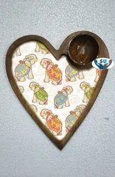 White Heart Shape Wooden Platter, Size: 8 Inch