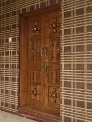 Old Sagwan Wood Carving Door