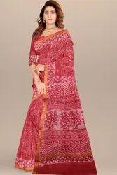 Party Wear Printed Bagru hand block print kota doria saree, 6.3 m (with blouse piece)