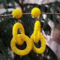 Yellow Beads Bead Earrings