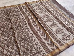 Dabu print Gray Ladies Printed Silk Saree, 6.3 m (with blouse piece)
