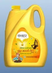 Yellow Kachchi Ghani KANHAR Mustard Oil 5l, Packaging Type: Plastic Container, Packaging Size: 5 litre