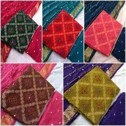 Checks Weaving Bandhani Cotton Embroidered Suits