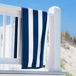 RJ Dark Blue and White Pool Towels / Cabana Pool Towels/ Strip Pool Towels, For Uses in Hotels Or Beach, Size: 72x36